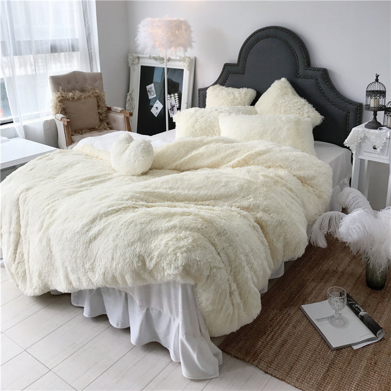 Fluffy Faux Lambswool Bed Set (4/6/7 pcs) - Cream