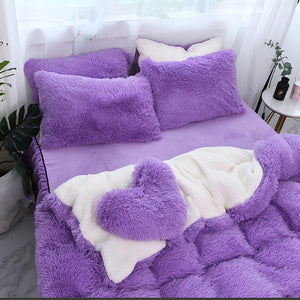 Fluffy Faux Lambswool Quilt Cover Only or with Pillowcases - Purple