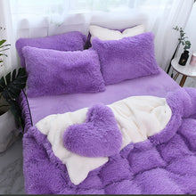 Load image into Gallery viewer, Fluffy Faux Lambswool Bed Set (4/6/7 pcs) - Purple