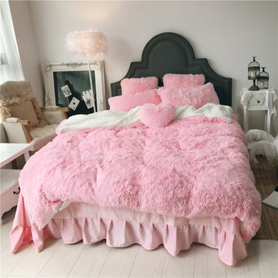 Fluffy Faux Lambswool Bed Set (4/6/7 pcs) - Baby Pink