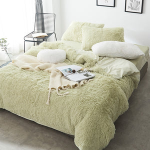 Fluffy Velvet Fleece Quilt Cover Bed Set (4/6/7 pcs) - Soft Green