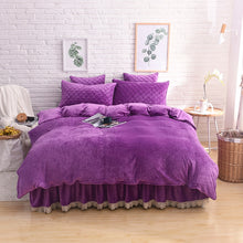 Load image into Gallery viewer, Crystal Velvet Lace Bed Set - 6 solid Colours