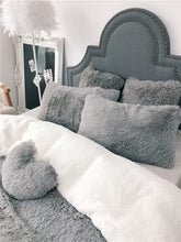 Load image into Gallery viewer, Fluffy Faux Lambswool Bed Set (4/6/7 pcs) - Grey