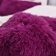 Load image into Gallery viewer, Fluffy Faux Lambswool Quilt Cover Only or with Pillowcases - Deep Purple