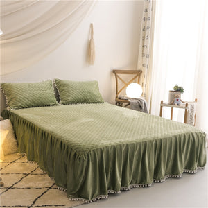 PomPom Fluffy Mink Fleece Bed Set - Army Green