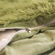 Load image into Gallery viewer, PomPom Fluffy Mink Fleece Bed Set - Army Green