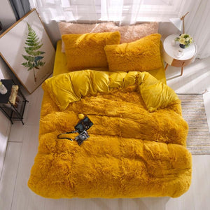 Fluffy Velvet Fleece Quilt Cover and pillowcases - Golden Yellow