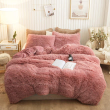 Load image into Gallery viewer, Fluffy Velvet Fleece Quilt Cover and Pillowcases Set - Dust Pink