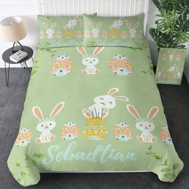 100% Cotton - Easter Bunny Green