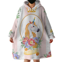 Load image into Gallery viewer, Blanket Hoodie - Flower Unicorn