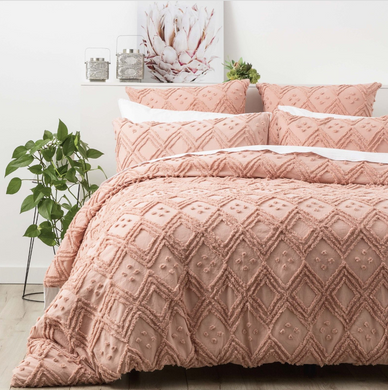 Vintage washed Tufted Quilt Cover Set Blush - EXPRESS POST