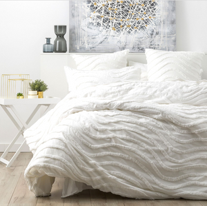 Cloud Linen Wave Chenille Quilt Cover Set White - EXPRESS POST