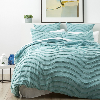 Cloud Linen Wave Chenille Quilt Cover Set Aqua - EXPRESS POST
