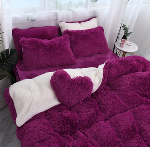 Fluffy Faux Lambswool Quilt Cover Only or with Pillowcases - Deep Purple