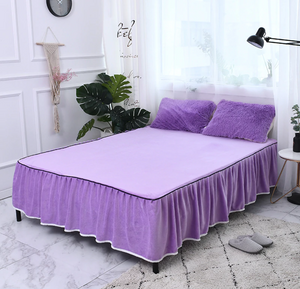 Fluffy Faux Lambswool Bed Set (4/6/7 pcs) - Purple