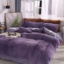Load image into Gallery viewer, Fluffy Velvet Fleece Quilt Cover Bed Set (4/6/7 pcs) - Dark Night
