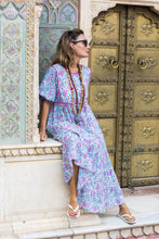Load image into Gallery viewer, Pink & Blue Paisley Indian Dress Back Tassels