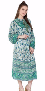 Olive Indian Dress Long Sleeve