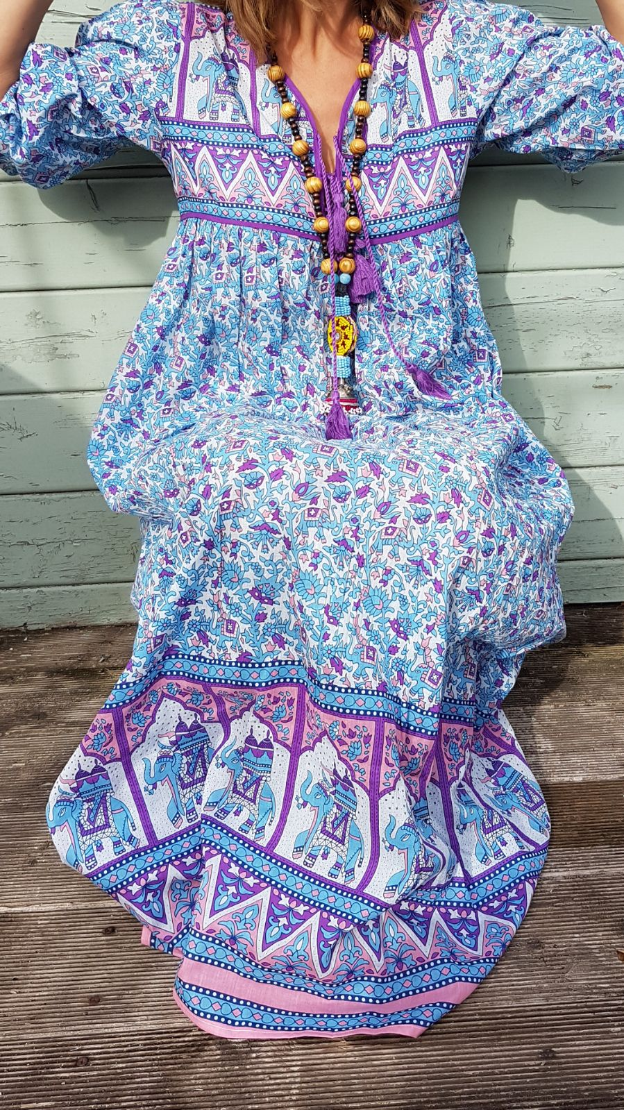 Turquoise Elephant Indian Dress
