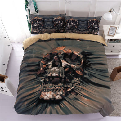 3D Black Skull Bedding Set