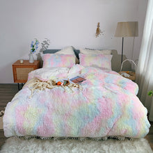 Load image into Gallery viewer, Fluffy Faux Mink & Velvet Fleece Bed Set - Soft Rainbow