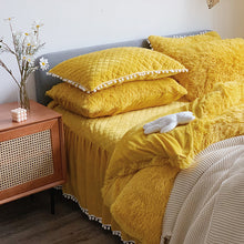 Load image into Gallery viewer, Fluffy Faux Mink & Velvet Fleece Bed Set - Soft Yellow