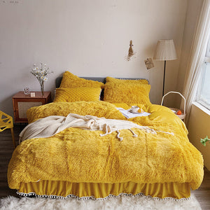 Fluffy Faux Mink & Velvet Fleece Bed Set - Soft Yellow
