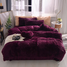 Load image into Gallery viewer, Fluffy Velvet Fleece Quilt Cover Bed Set (4/6/7 pcs) - Wine Purple