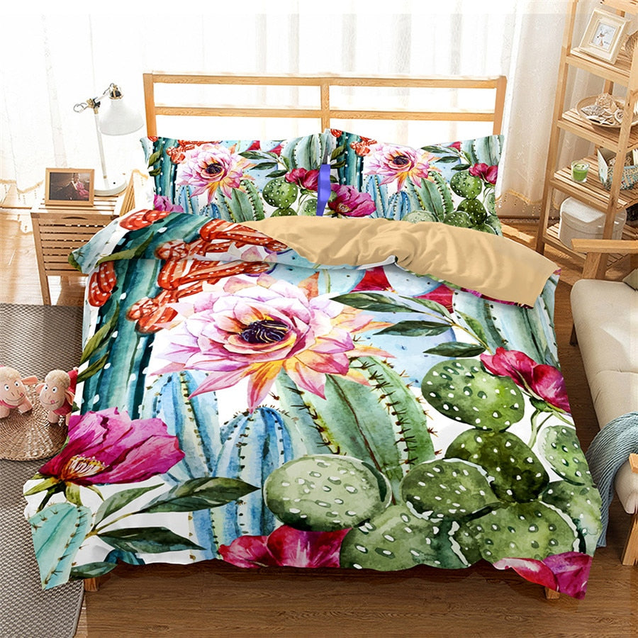 Cactus Watercolour Duvet Cover Set