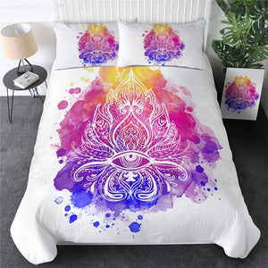 Customised Watercolor Lotus Quilt Cover Set