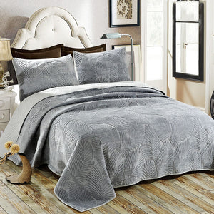 Bedspread Set 3pcs Palm Leaves