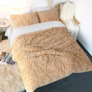 Fluffy Faux Lambswool Quilt Cover - Teddy Bear