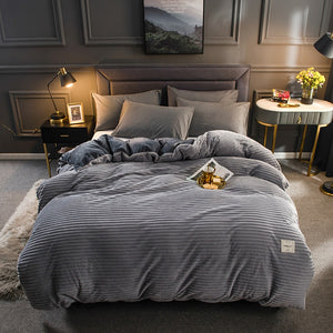 Thick Coral Velvet Flannel Bed Cover Set - Grey
