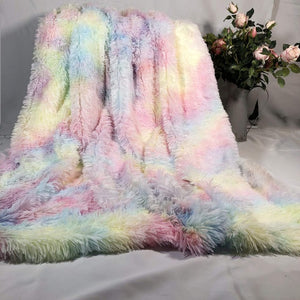 Rainbow Fluffy Blanket set with pillowcases
