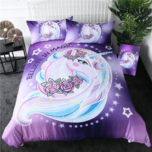 Load image into Gallery viewer, Customised Unicorn Kids Bedding Set