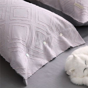 Luxury 100% Cotton Clipping Diamond 4pcs Bedding Set - Heaven