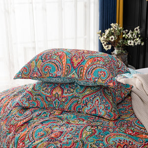 CHAUSUB BedSpreads For Bed Cotton Quilt Set 3PCS Bohemia Print Quilts Quilted Bed Cover King Queen Size Coverlet Summer Blanket
