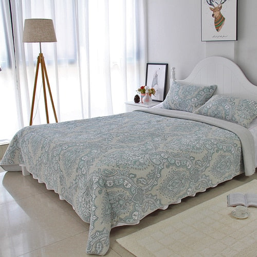 Bedspread Set 3pcs Blue retro paisley