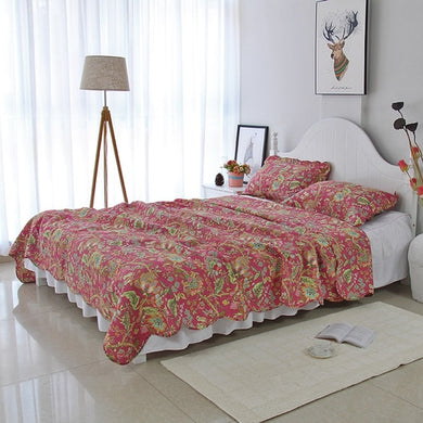 Bedspread Set 3pcs Wood lily red