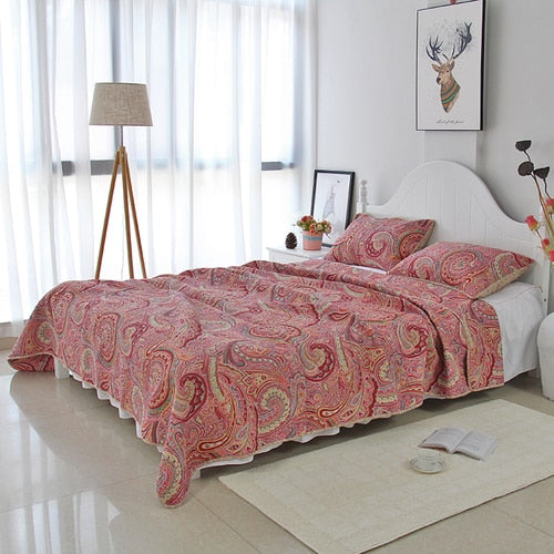 Bedspread Set 3pcs Red paisley