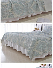 Load image into Gallery viewer, Bedspread Set 3pcs Blue retro paisley