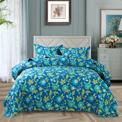 Cotton Bedspread Set 3pcs Sarah in Blue