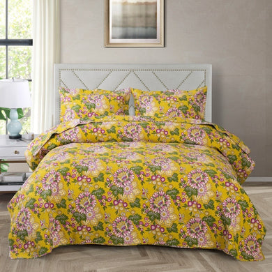 Cotton Bedspread Set 3pcs Sarah in Yellow