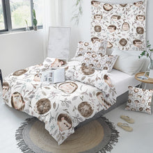 Load image into Gallery viewer, Customised Hedgehog Quilt Cover Set - Various Styles