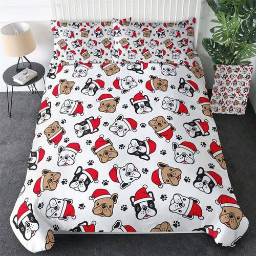 Bulldog Xmas Quilt Cover Set - Merry Christmas