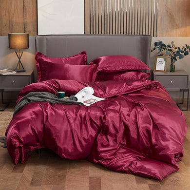 Satin Bedding Set - Burgundy