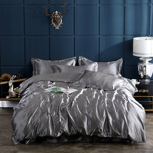 Satin Bedding Set - Silver