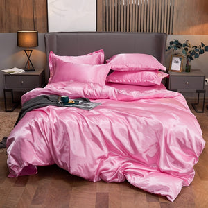Satin Bedding Set - Soft Pink