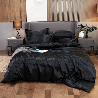 Satin Bedding Set - Black