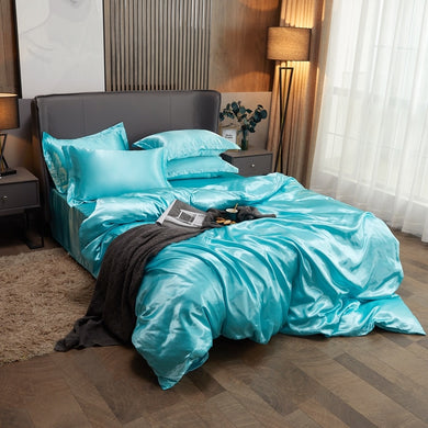Satin Bedding Set - Aqua Blue